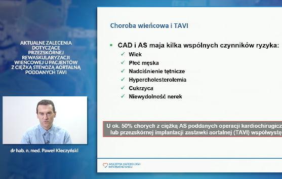 Aktualne zalecenia dotyczące przezskórnej rewaskularyzacji wieńcowej u pacjentów z ciężką stenozą aortalną poddanych tavi